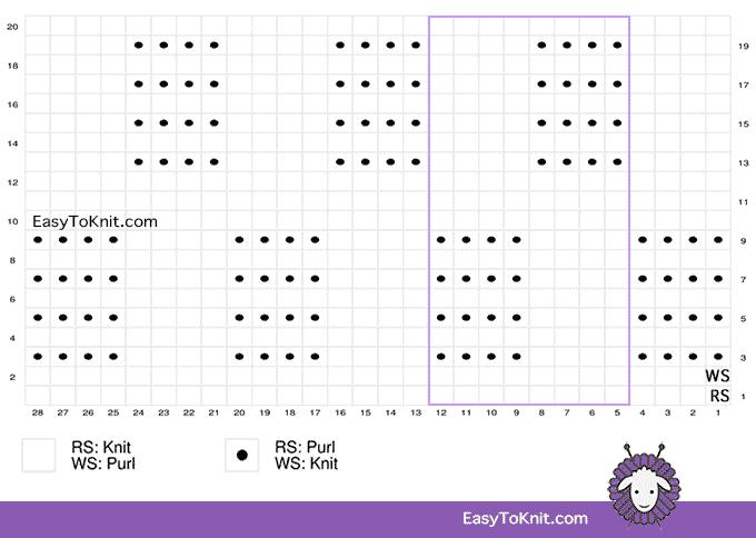 Basketweave Stitch Pattern chart