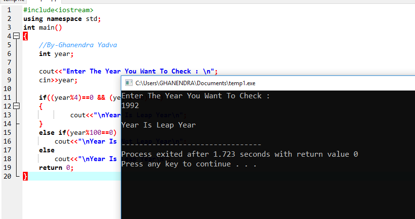 C++ Program To Check Year Is Leap Year Or Not