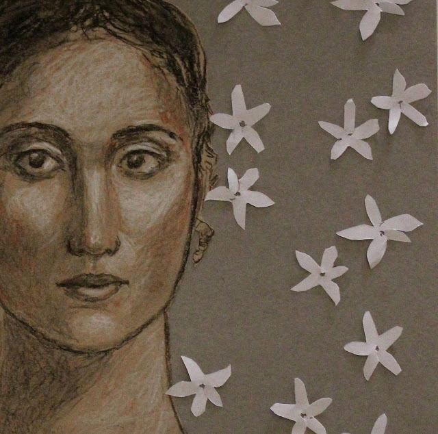 art, arte, drawing, sketch, woman, dibujo, jasmine, sarah, myers, collage, decoupe, paper-cut, cut, paper, charcoal, conte, portrait, kunst, retrato, face, head, flores, fashion, sketch, contemporary, modern, mixed, media, detail, close-up, eyes