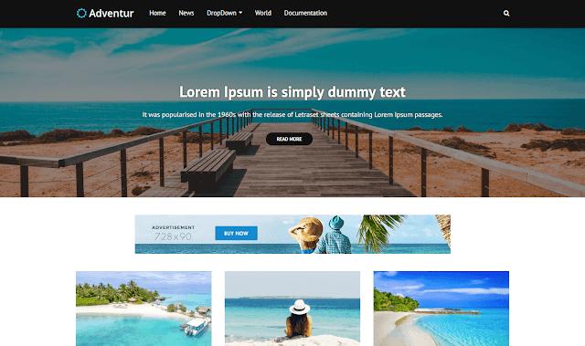 Download Free Premium Adventur Travel Blogger Template