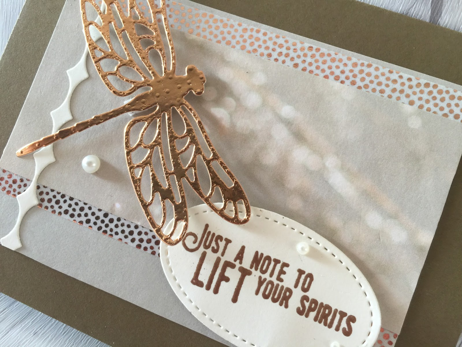 stamped sophisticates stampin up copper detailed dragonfly card