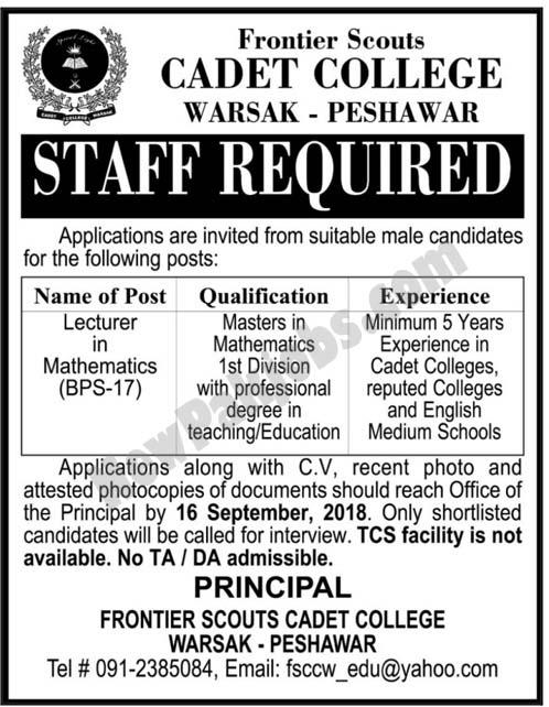 Cadet College Warsak Peshawar Latest Jobs 2018