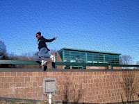 image from digital media lab, teen on railing
