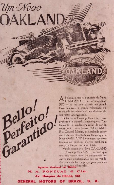 Propaganda de 1929 da General Motors para promover o modelo Oakland