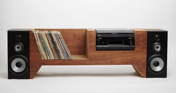 Handmade Record Player Console