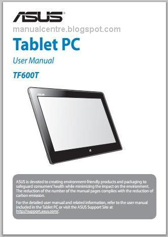 Asus VivoTab RT TF600T Manual