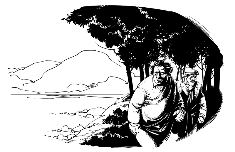 horror story illustration old man on sea shore