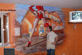 Malowanie obrazów na ścianie, artystyczne malowanie ściany w pizzerii, warszawa Mural 3D