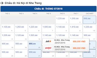 Giá vé máy bay Hà Nội đi Nha Trang tháng 7