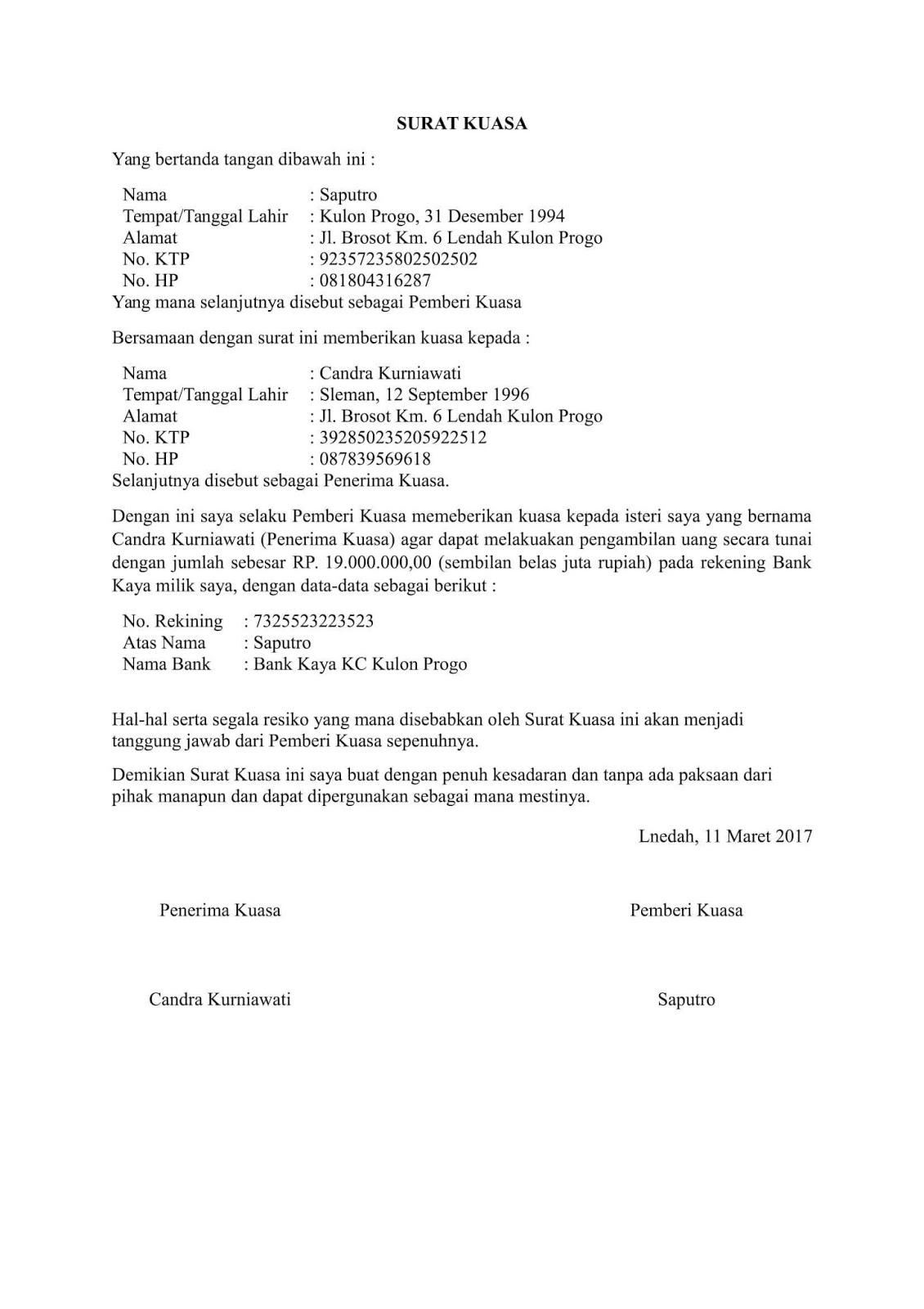 Contoh Surat Kuasa Balik Nama Indihome Contoh Surat Kuasa
