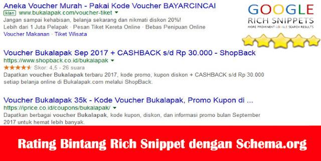 Rating Bintang Rich Snippet dengan Schema.org