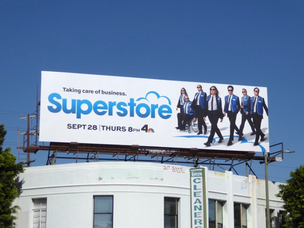 Superstore season 3 Reservoir Dogs billboard