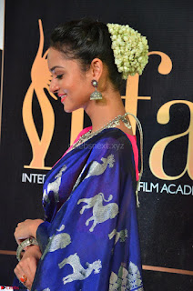 Shanvi Looks Super Cute in Pink Backless Choli Blue Saree at IIFA Utsavam Awards 2017 19.JPG