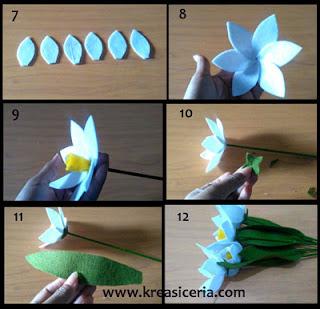 Tutorial Bunga Daffodil dari bahan Kain Flanel part 2