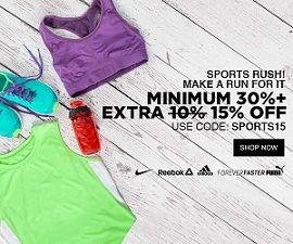 Sports Wear – Minimum 30% Off + Extra 15% Off @ Jabong