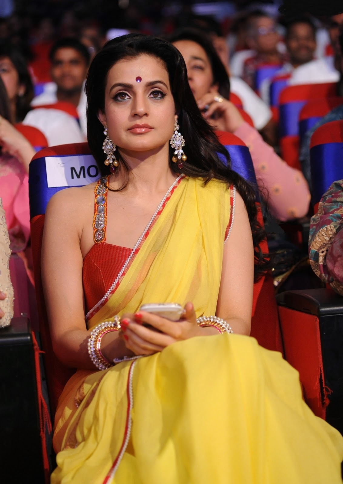Amisha Patel Amisha Patel Recent Yellow Saree-6519
