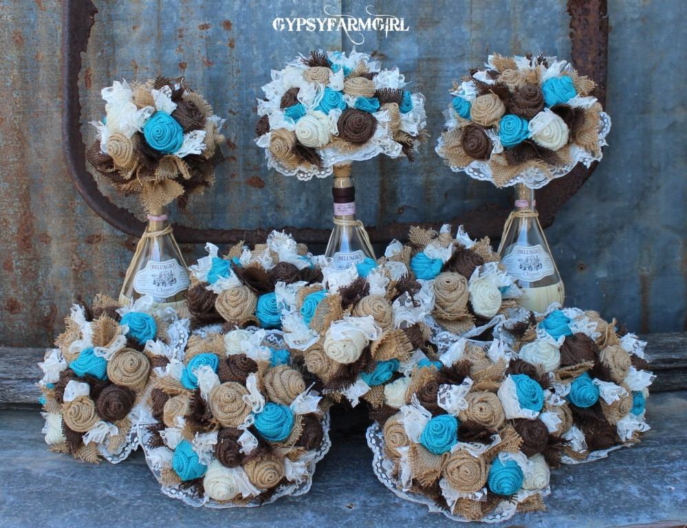 GypsyFarmGirl: Turquoise Burlap And Lace Wedding Bouquets