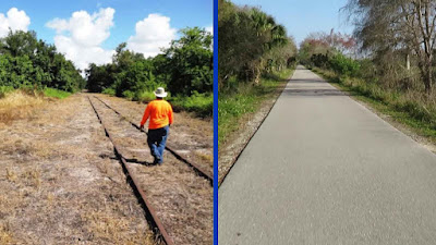 Man walking on rail corridor that will be future bicycle and pedestrian trail