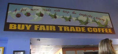 Fair Trade sign with birds