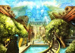anime fantasy cities wallpapers background hd artwork detail desktop kusagakure magic naruto backgrounds dragons hydra dogma snakes sorcerer giant fire