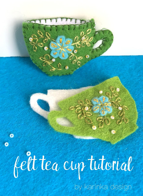 a mini tutorial on how to sew a felt tea cup
