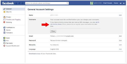 change facebook profile username