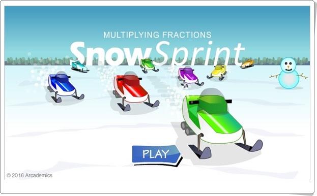 """""""Snow sprint"""" (Juego de multiplicación de fracciones)"""