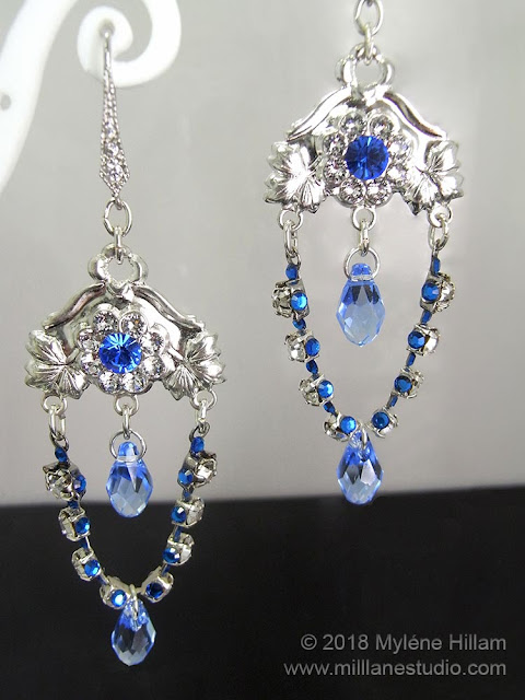 Sparkly blue crystal chandelier earrings