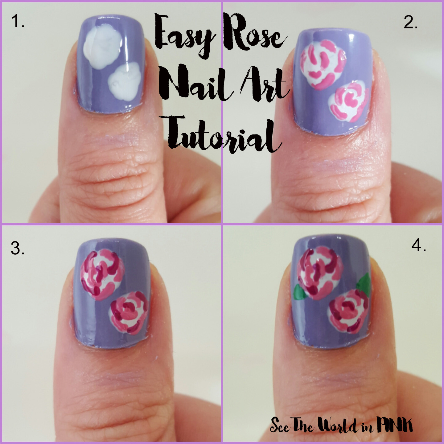 Manicure Monday Easy Rose Nail Art Tutorial See The World In Pink