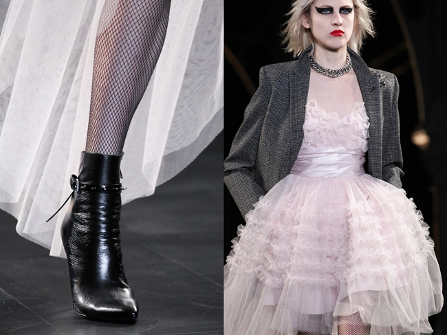 Saint Laurent 2015 AW Pink Strapless Tulle Prom Dress With Blazer  on Runway