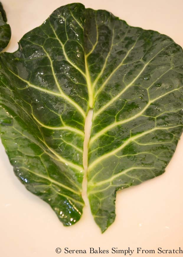 Rib removed from Collard Green from Serena Bakes Simply From Scratch.