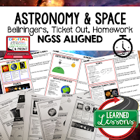 Planets and Solar System Worksheets, Earth Science NGSS Bellringers, Science Warm Ups, Science Homework, Science Ticket Out