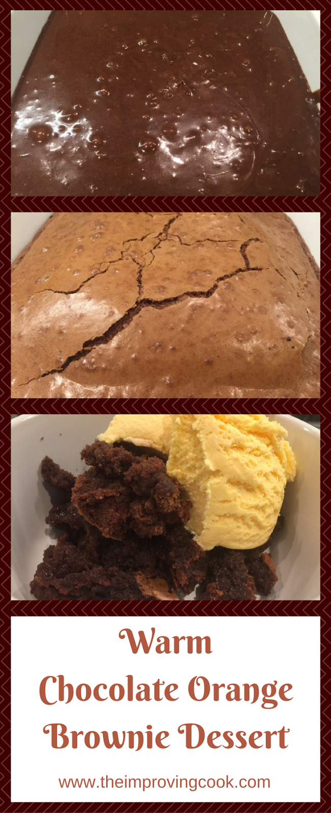 Warm Chocolate Orange Brownie Dessert pinnable image