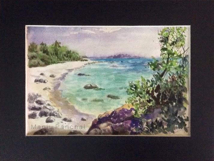 watercolour painting of seascape by manju panchal