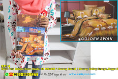 Sprei Fata Golden Swan Single B2 120×200 1 Sarung Bantal 1 Sarung Guling Orange Jingga Gold Binatang Dewasa Katun
