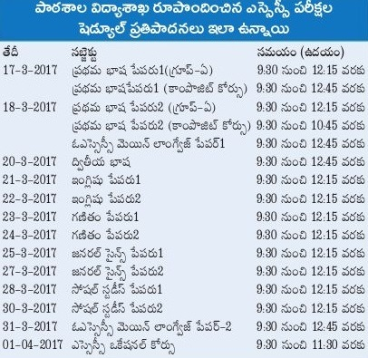 Manabadi AP 10th (SSC) Time Table 2017 Download at bseap.org