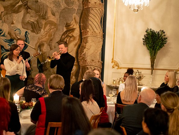 Crown Prince Haakon and Crown Princess Mette-Marit of Norway hosted a dinner for about 60 guests at Skaugum