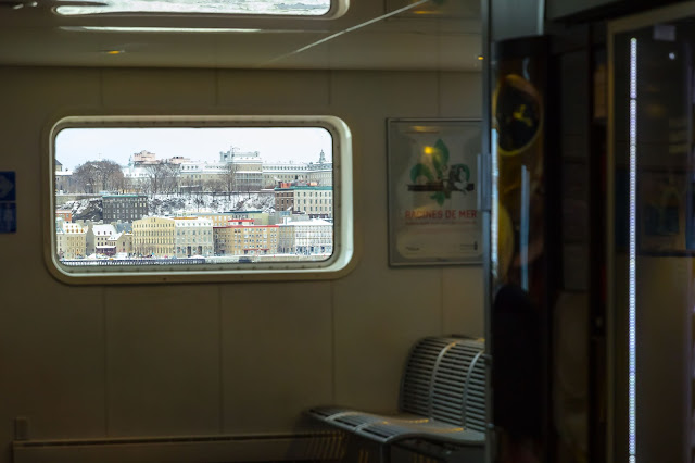 view from inside the Lévis Ferry