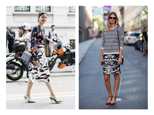 Сочетание юбки и топа с абстрактными принтами