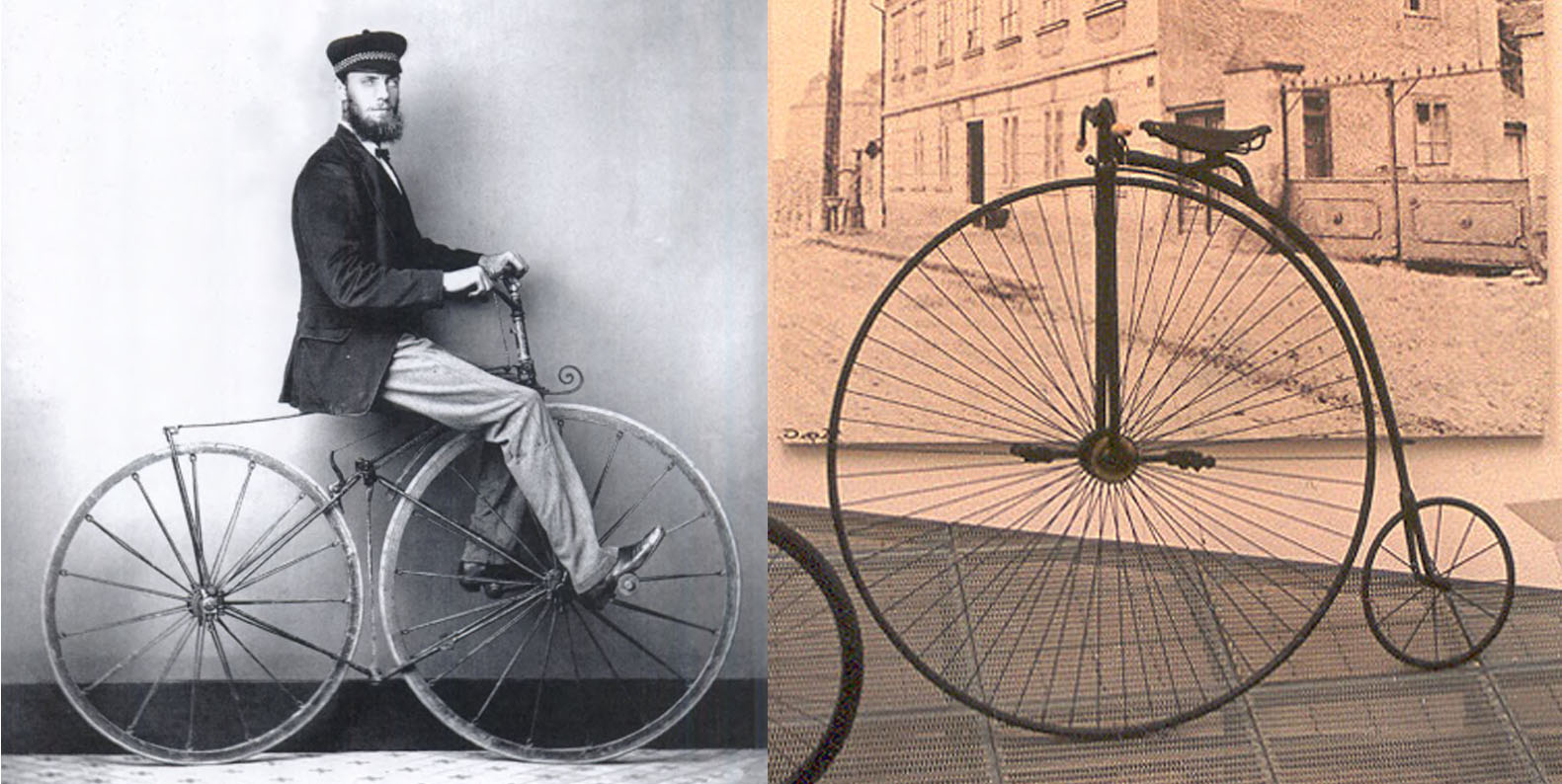 Two vintage bicycles--Penny Farthing and Phantom