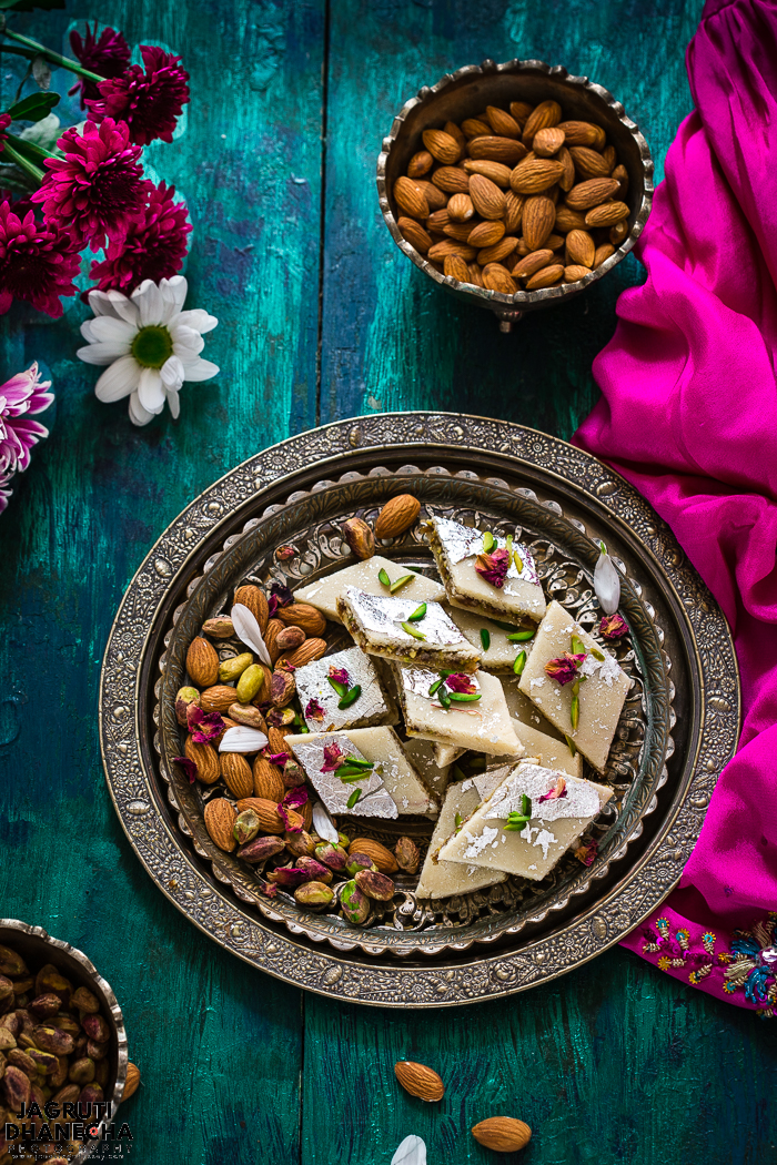 These badam gulkand katli - almond rose katli are sumptuous, soft and melt in mouth Indian sweets. These katlis comes together jsut in 40 minutes. Homemade badam gulkand katli are made from scratch.