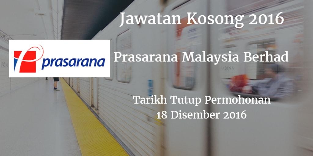 Jawatan Kosong Prasarana Malaysia Berhad 18 Disember 2016