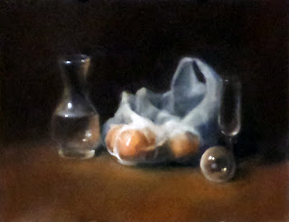 Oil painting of oranges in a white plastic bag beside a carafe, a glass sphere and a champagne flute.