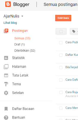 Cara Publish Artikel di Blog Blogger