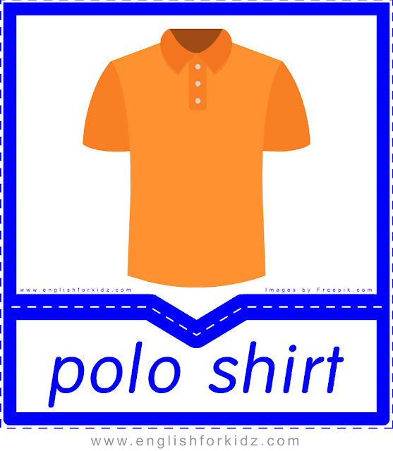 Polo shirt - English clothes and accessories flashcards for ESL students