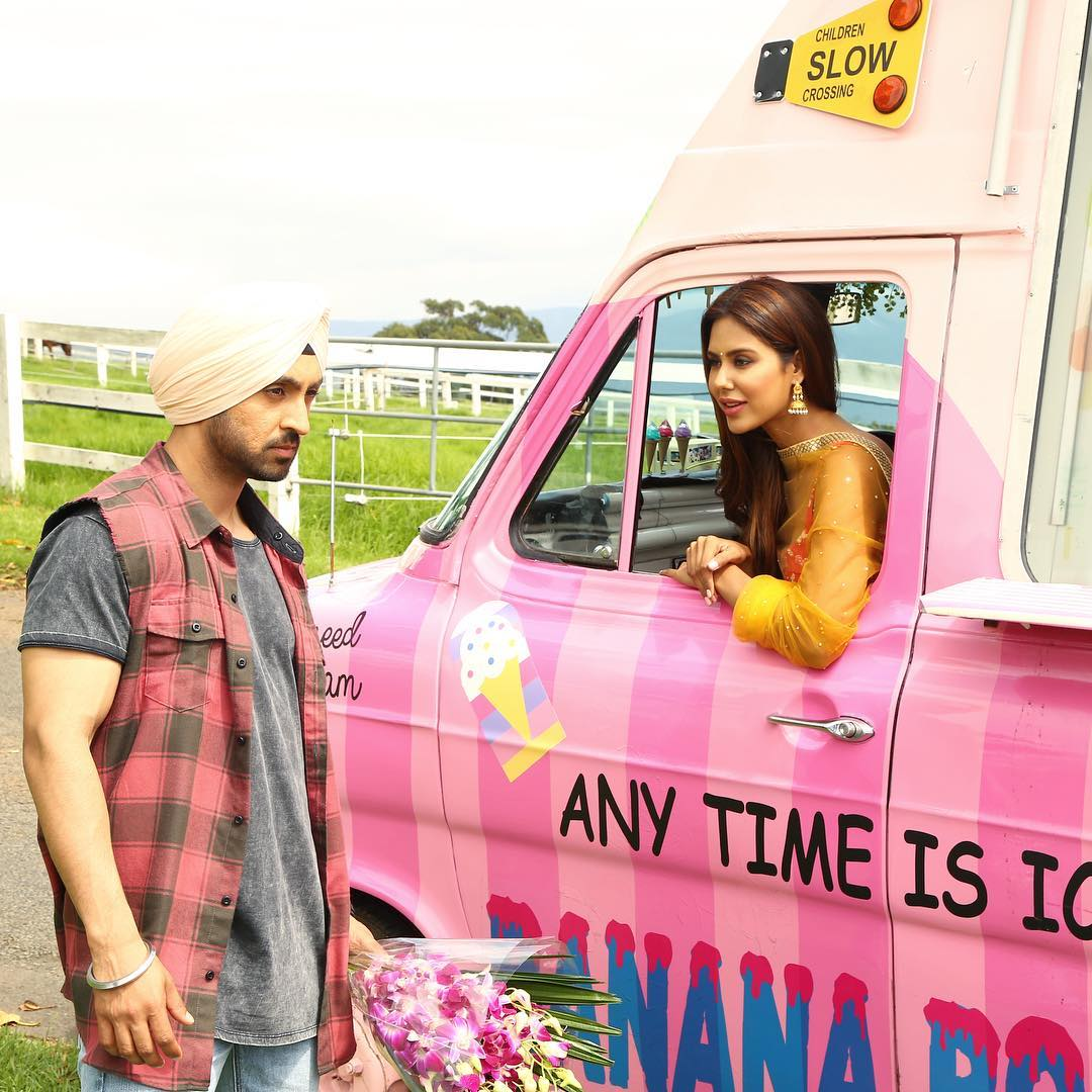 Diljit Dosanjh and Sonam Bajwa on the sets of Sardaarji 2