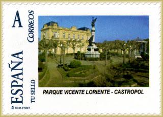 Sello personalizado del parque Vicente Loriente en Castropol