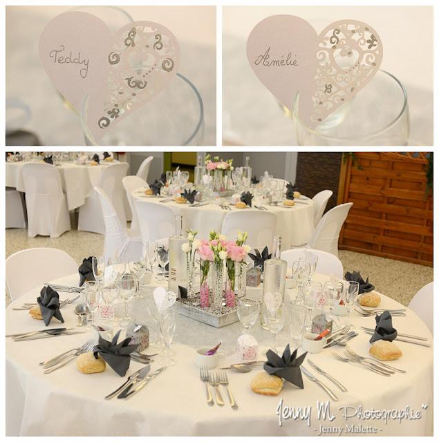 salle mariage la forêt à aizenay idée déco tables thème gris et rose