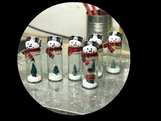 DIY Snow Globe Style Thrift Store Snowmen