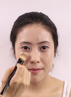 Begin with Giorgio Armani Power Fabric Foundation #3.4 under eyes then spread all over the face.